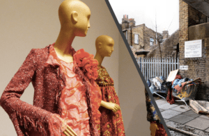 Split photo depicting manikins in the latest fashion trends and a street with a trolley full of thrown out fashion garments