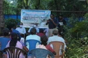 A speaker at CHEC's awareness programme on the ecological significance of mangroves for the Mangrove Project