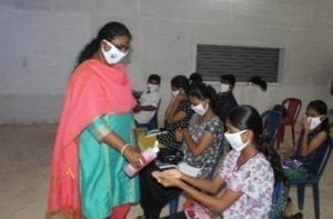 Students practice good hygiene due to Covid-19 at CHEC's awareness programme on mangroves for children.