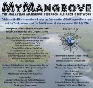 Poster for all the activities organised in Malaysia for World Mangrove Day 2020 as part of the CHEC Mangrove project