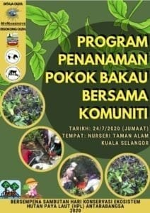 Poster advertising the planting activity for World Mangrove Day 2020 at Kuala Selangor, Malaysia